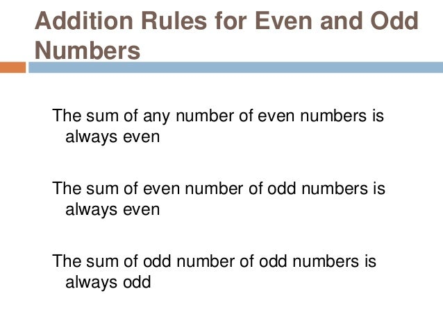 Subtraction Rules for Even and Odd Numbers The difference of two even numbers is always even The difference of two odd num...