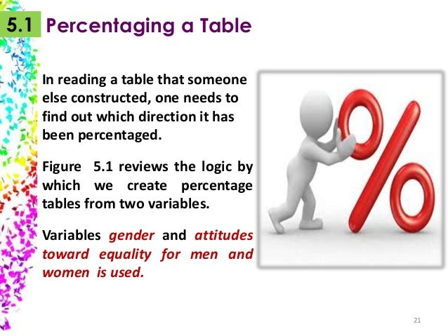5.1 Percentaging a Table In reading a table that someone else constructed, one needs to find out which direction it has be...