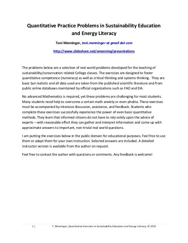 1 | T. Menninger, Quantitative Exercises in Sustainability Education and Energy Literacy, © 2013Quantitative Practice Prob...