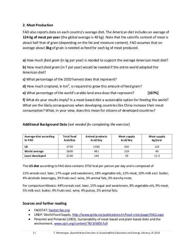 Sustainable Agriculture, Food Security, Corn Ethanol: Quantitative Study Problems  Slide 3