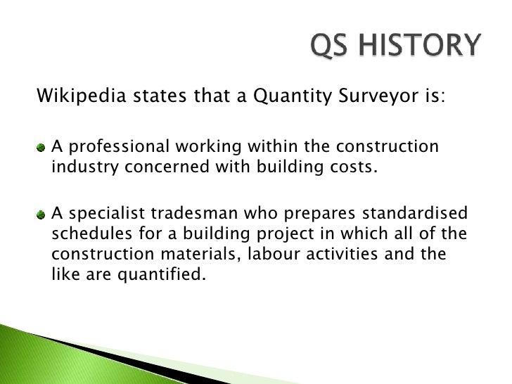 Quantity Surveyor Diary Bills Of Quantities (Senior Lecturer note)