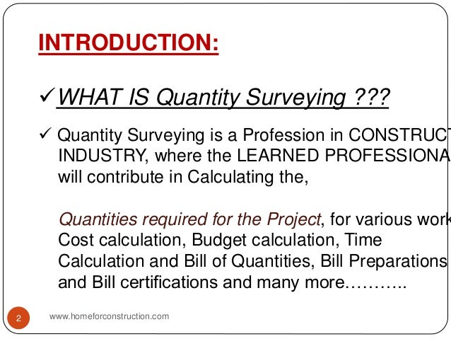 Quantity surveying course