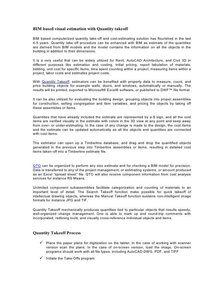 BIM based visual estimation with Quantity takeoff  BIM based computerized quantity take-off and cost-estimating solution h...