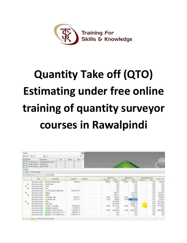 Quantity Take Off Qto Estimating Under Free Online