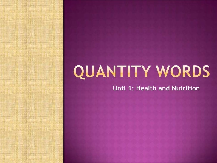 Unit 1: Health and Nutrition