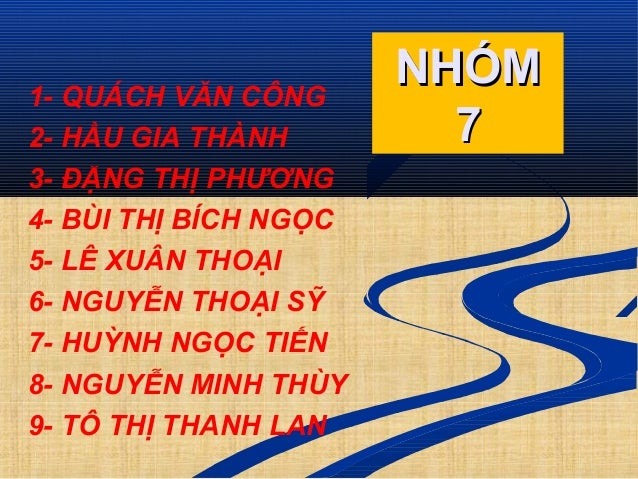 1- QUÁCH VĂN CÔNG 2- HẦU GIA THÀNH 3- ĐẶNG THỊ PHƯƠNG 4- BÙI THỊ BÍCH NGỌC 5- LÊ XUÂN THOẠI 6- NGUYỄN THOẠI SỸ 7- HUỲNH NG...
