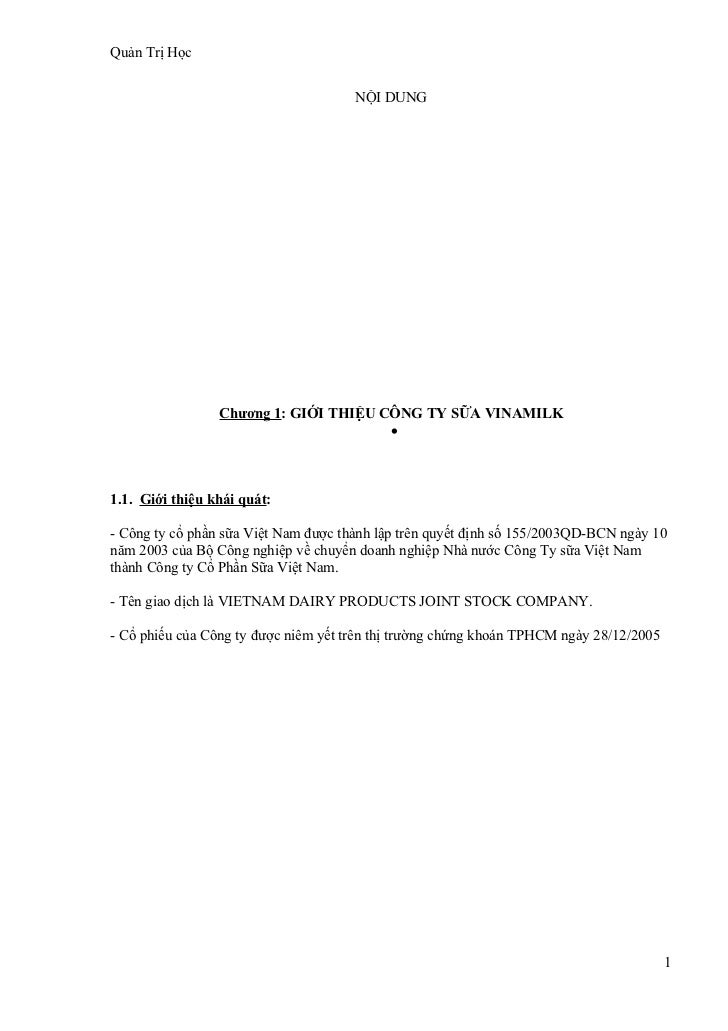 Quản Trị Học                                      NỘI DUNG                 Chương 1: GIỚI THIỆU CÔNG TY SỮA VINAMILK      ...