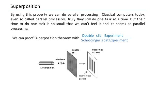 Superposition By using this property we can do parallel processing , Classical computers today, even so called parallel pr...