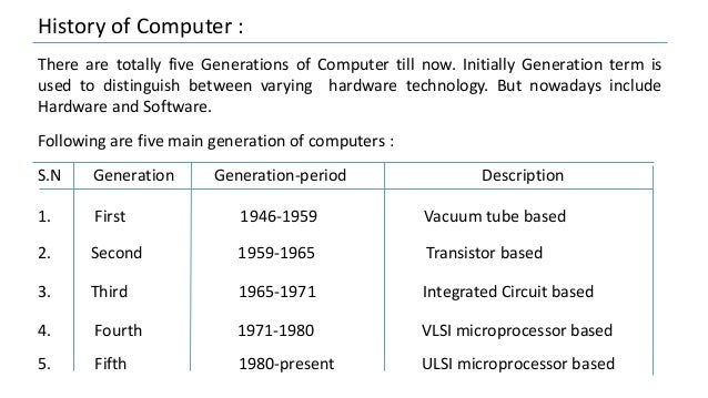 History of Computer : There are totally five Generations of Computer till now. Initially Generation term is used to distin...