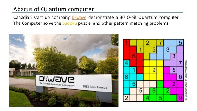 Abacus of Quantum computer Canadian start up company D-wave demonstrate a 30 Q-bit Quantum computer . The Computer solve t...
