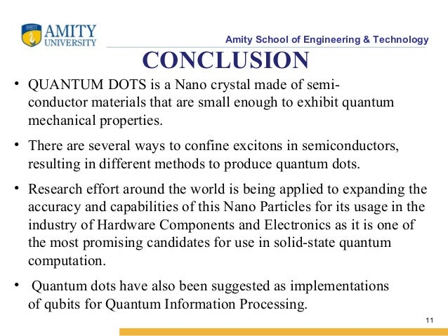 quantum dots research paper Quantum dots are tiny particles or nanocrystals splitting of energy levels in quantum dots due to the quantum l accounts of chemical research.