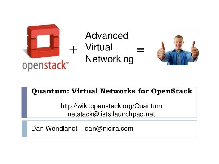 Advanced<br />Virtual<br />Networking<br />+<br />=<br />Quantum: Virtual Networks for OpenStack<br />http://wiki.openstac...