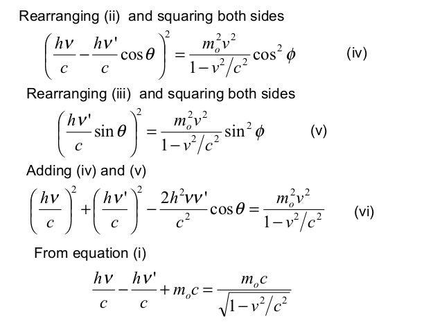 Rearranging (ii) and squaring both sidesφθνν 222222cos1coscvvmchch o−=− (iv)φθν 222222sin1sincvvmch o−= (v)Rea...