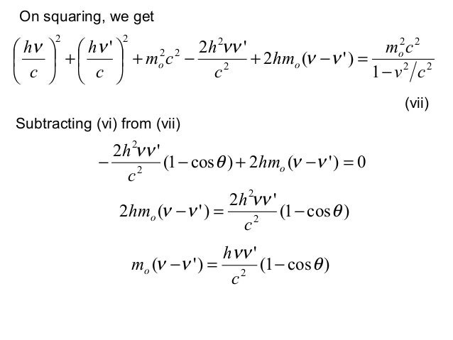 On squaring, we getSubtracting (vi) from (vii)(vii)22222222221)(22cvcmhmchcmchch ooo−=−+−++νννννν0)(2)cos1(222...