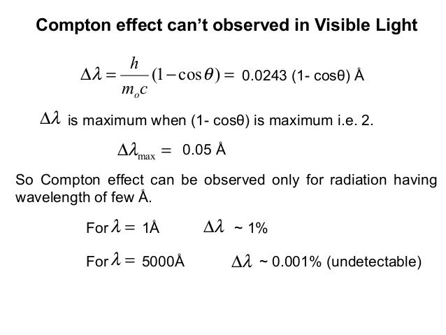 0.0243 (1- cosθ) Å=−=∆ )cos1( θλcmho=∆ maxλλ∆So Compton effect can be observed only for radiation havingwavelength of few ...