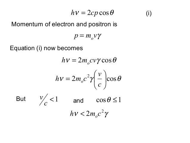 γvmp o=Momentum of electron and positron is(i)1cos ≤θ1<cvButθν cos2cph =Equation (i) now becomesθγν cos2 cvmh o=θγν cos2 2...