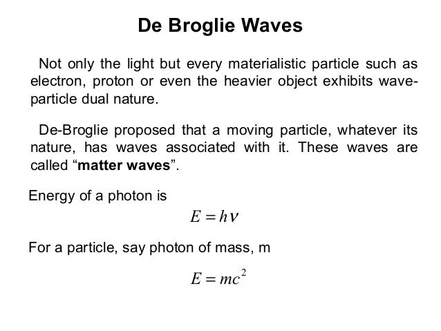 De Broglie WavesNot only the light but every materialistic particle such aselectron, proton or even the heavier object exh...