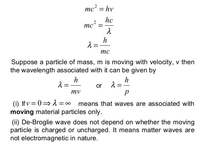 Suppose a particle of mass, m is moving with velocity, v thenthe wavelength associated with it can be given byhvmc =2λhcmc...
