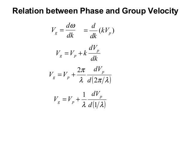 Relation between Phase and Group VelocitydkdVgω= )( pkVdkd=dkdVkVVppg +=( )λπλπ22ddVVVppg +=( )λλ 11ddVVVppg +=