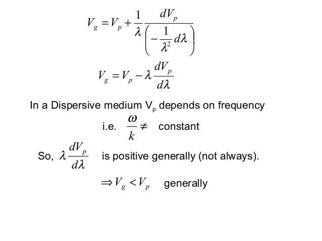 λλddVVVppg −=−+=λλλddVVV ppg211λλddVpSo, is positive generally (not always).pg VV <⇒In a Dispersive medium Vp depend...