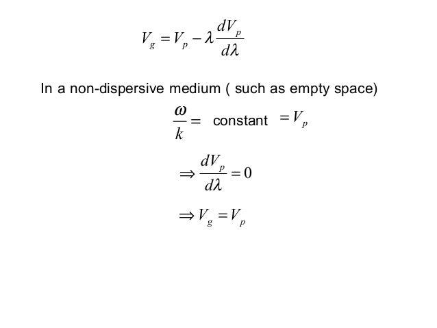 λλddVVVppg −=0=⇒λddVppg VV =⇒In a non-dispersive medium ( such as empty space)=kωconstant pV=