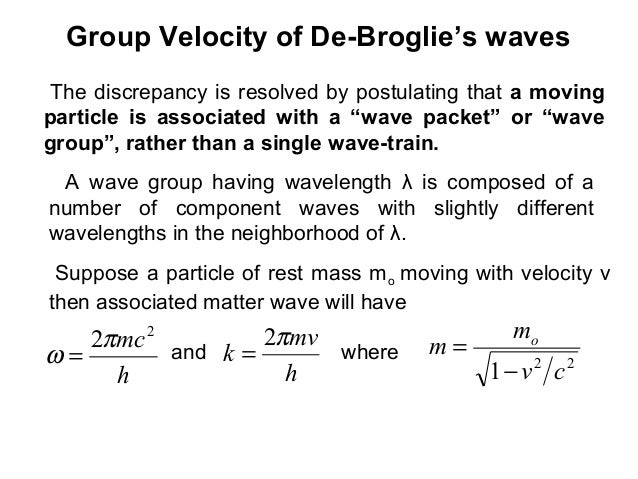 Group Velocity of De-Broglie's wavesThe discrepancy is resolved by postulating that a movingparticle is associated with a ...
