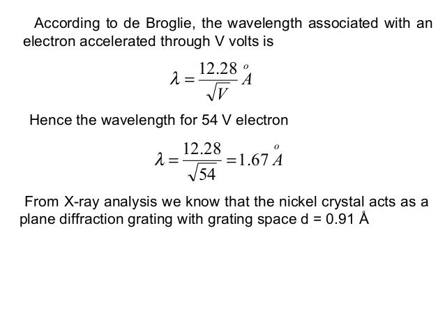 According to de Broglie, the wavelength associated with anelectron accelerated through V volts isoAV28.12=λHence the wavel...