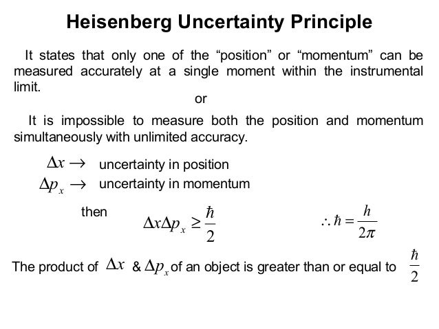 """Heisenberg Uncertainty PrincipleIt states that only one of the """"position"""" or """"momentum"""" can bemeasured accurately at a sin..."""