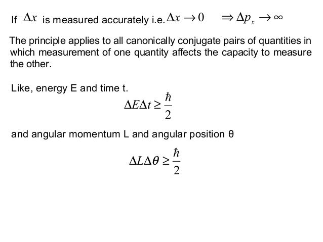 If is measured accurately i.e.x∆ 0→∆x ∞→∆⇒ xpLike, energy E and time t.2≥∆∆ tE2≥∆∆ θLThe principle applies to all canoni...