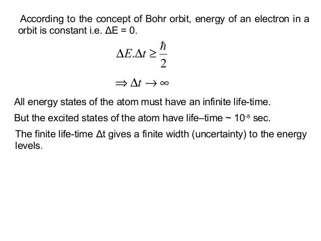 According to the concept of Bohr orbit, energy of an electron in aorbit is constant i.e. ΔE = 0.2.≥∆∆ tE∞→∆⇒ tAll energy ...