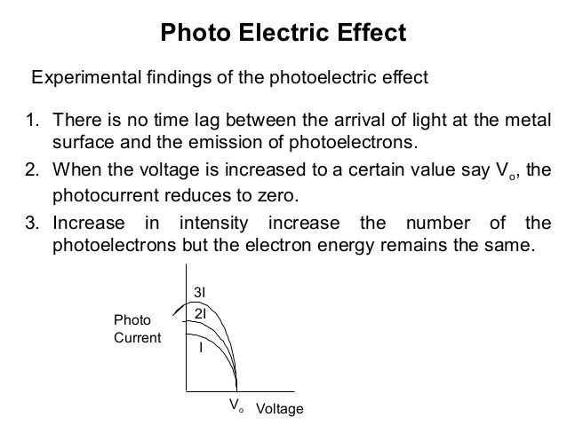 Photo Electric EffectExperimental findings of the photoelectric effect1. There is no time lag between the arrival of light...