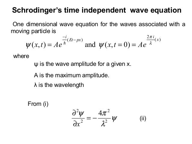 Schrodinger's time independent wave equationOne dimensional wave equation for the waves associated with amoving particle i...