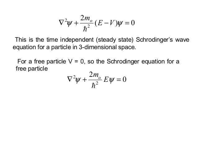 For a free particle V = 0, so the Schrodinger equation for afree particle0222=+∇ ψψ Emo0)(222=−+∇ ψψ VEmoThis is the tim...