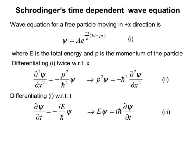 Schrodinger's time dependent wave equation)( pxEtiAe−−= ψWave equation for a free particle moving in +x direction is(iii)...