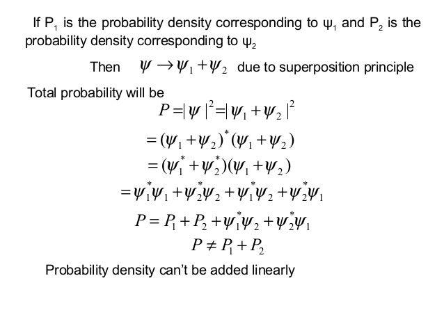 21 ψψψ +→ThenTotal probability will be2212|||| ψψψ +==Pdue to superposition principle)()( 21*21 ψψψψ ++=))(( 21*2*1 ψψψψ +...