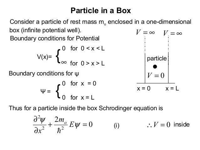 Particle in a BoxConsider a particle of rest mass mo enclosed in a one-dimensionalbox (infinite potential well).Thus for a...