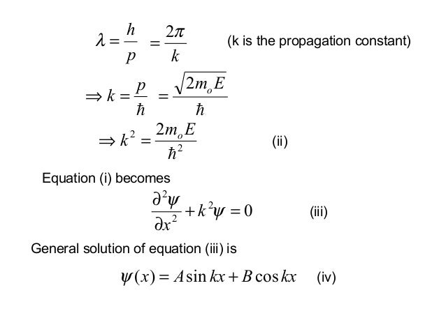 Equation (i) becomesph=λkπ2=pk =⇒Emo2=22 2Emk o=⇒(k is the propagation constant)(ii)0222=+∂∂ψψkx(iii)General solution o...