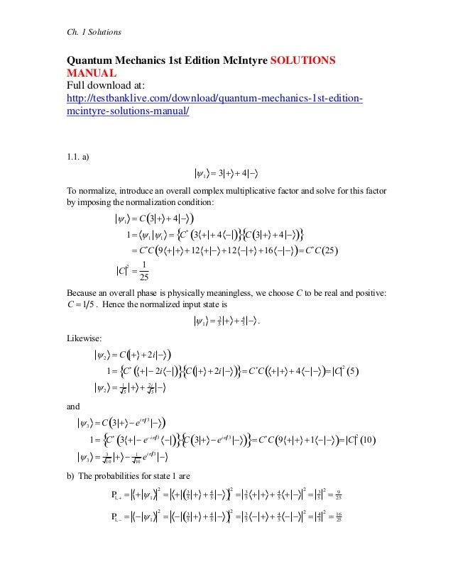 quantum mechanics 1st edition mc intyre solutions manual rh slideshare net Quantum Field Theory Quantum Mechanical Model