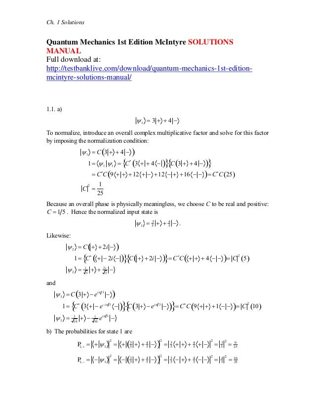 quantum mechanics 1st edition mc intyre solutions manual rh slideshare net solution manual quantum mechanics schiff solution manual quantum mechanics griffiths pdf