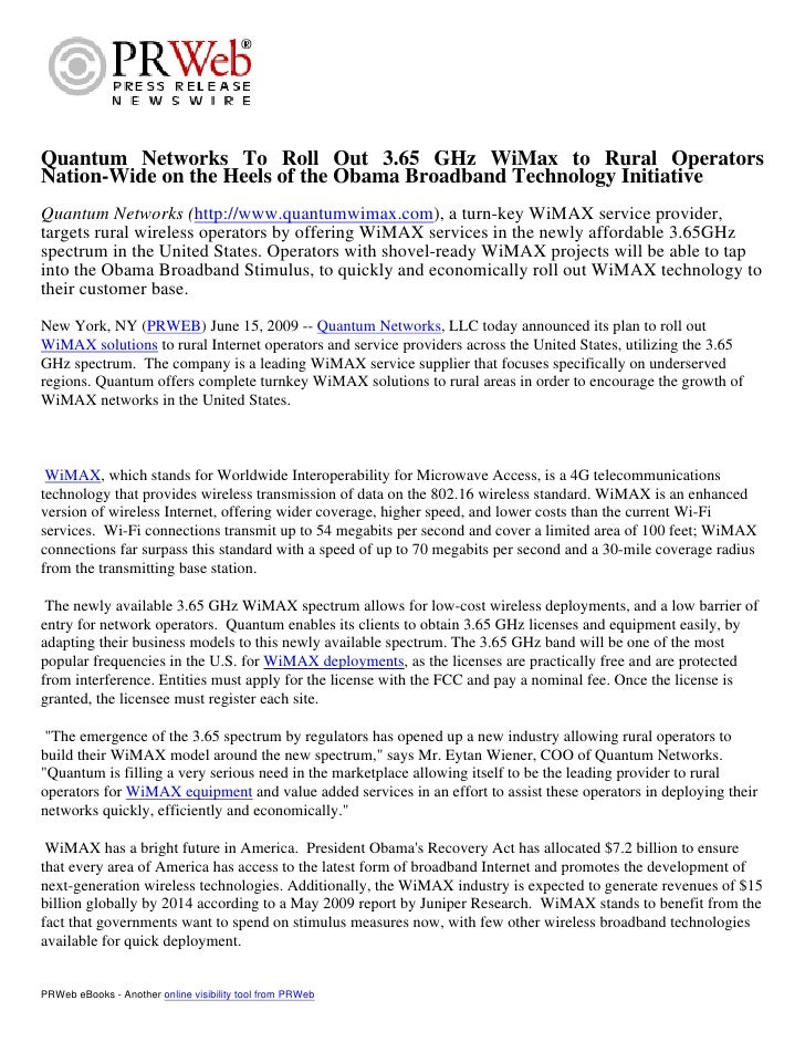 Quantum Networks To Roll Out 3.65 GHz WiMax to Rural Operators Nation-Wide(quantumwimax.com)