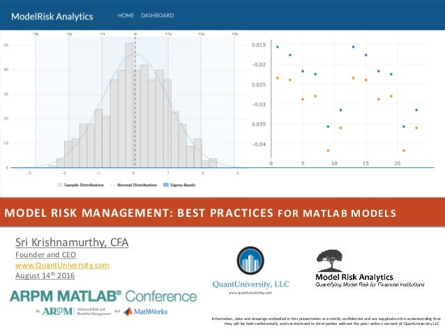 MODEL RISK MANAGEMENT: BEST PRACTICES FOR MATLAB MODELS Information, data and drawings embodied in this presentation are s...