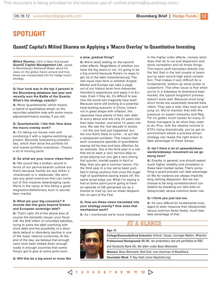 This document is being provided for the exclusive use of <milind.sharma@quantzcap.com>     06.19.12 www.bloombergbriefs....