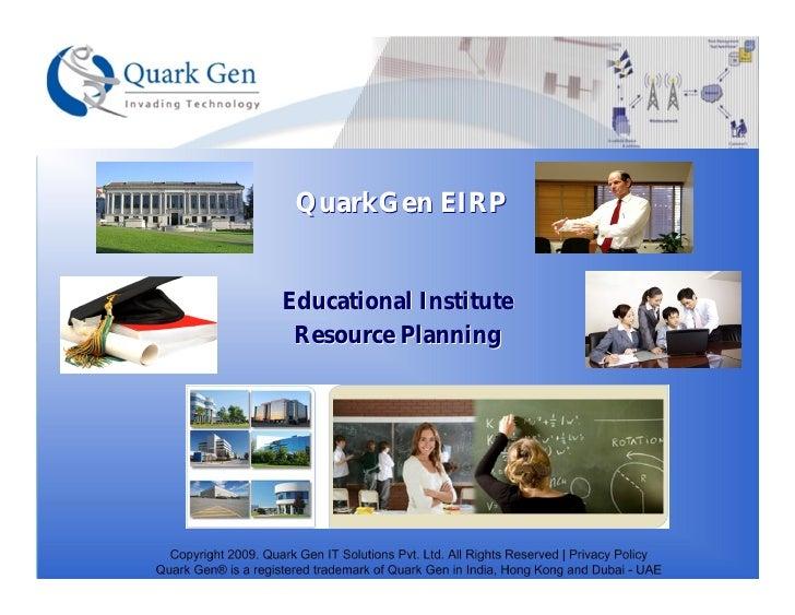QuarkGen EIRP   Educational Institute  Resource Planning