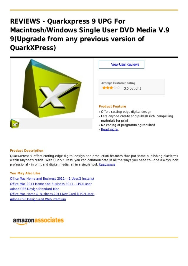 REVIEWS - Quarkxpress 9 UPG ForMacintosh/Windows Single User DVD Media V.99(Upgrade from any previous version ofQuarkXPres...