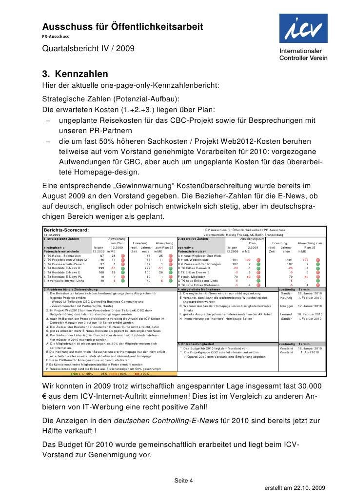 Quartals Bericht 2009 I V I C V P R Ausschuss