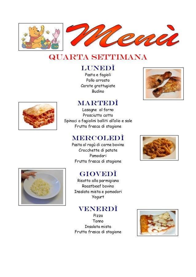 quarta settimana LUNEDì Pasta e fagioli Pollo arrosto Carote grattugiate Budino Martedì Lasagne al forno Prosciutto cotto ...