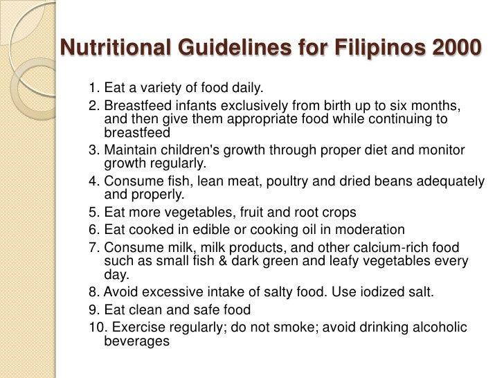 Nutritional Guidelines ...