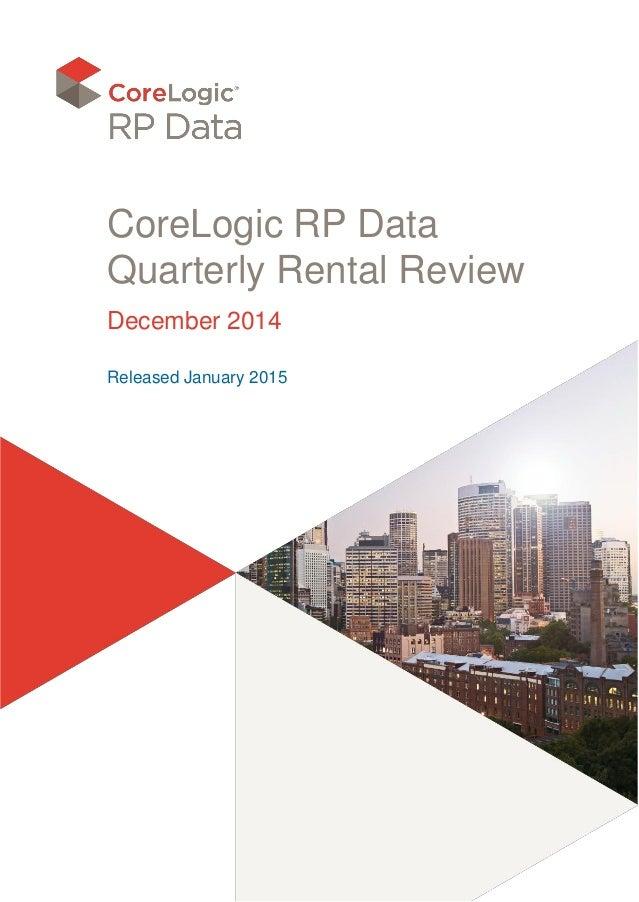CoreLogic RP Data Quarterly Rental Review December 2014 Released January 2015