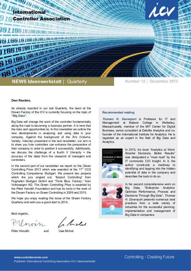 International Controller Association  NEWS Ideenwerkstatt   Quarterly  Number 12 │ December 2013  Dear Readers, As already...