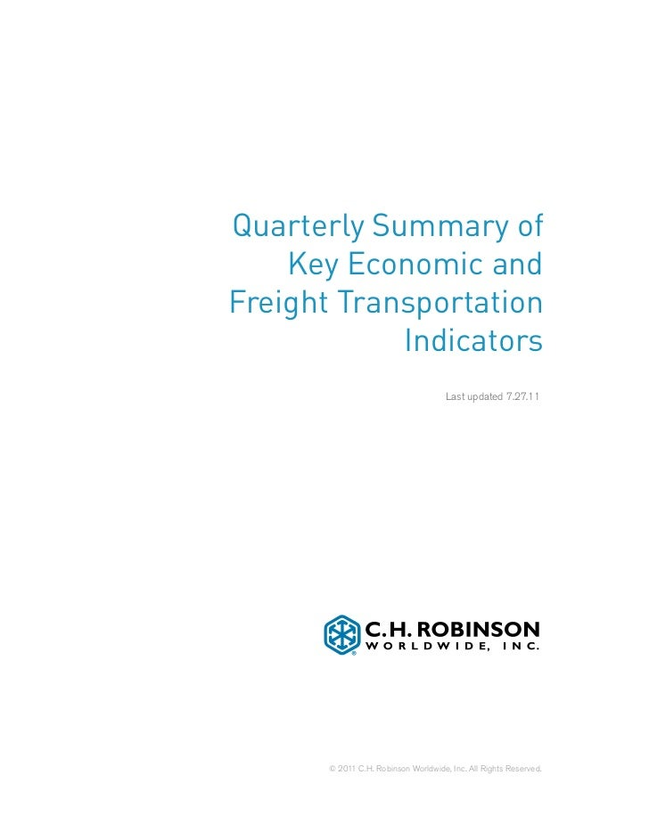Quarterly Summary of    Key Economic andFreight Transportation            Indicators                                      ...